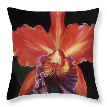 Red Hawaiian Orchid Throw Pillow