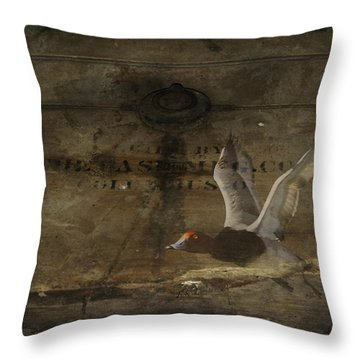 Red Head Duck Old Box Throw Pillow