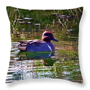 Throw Pillow featuring the photograph Red Headed Duck by Susan Garren