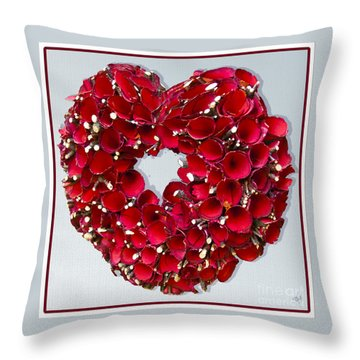 Throw Pillow featuring the photograph Red Heart Wreath by Victoria Harrington