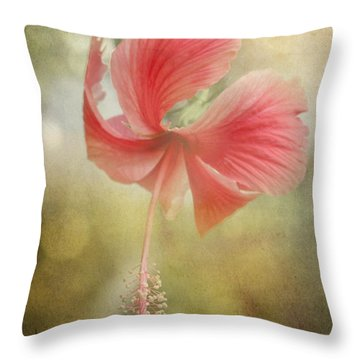 Red Hibiscus Throw Pillow by David and Carol Kelly