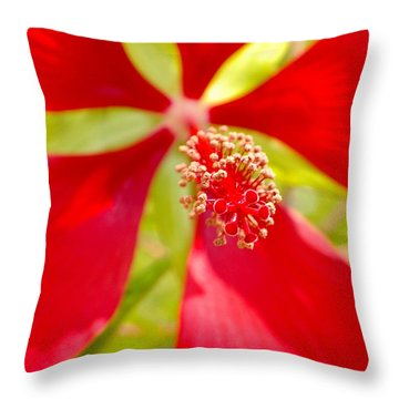 Red Hibiscus Flower Throw Pillow