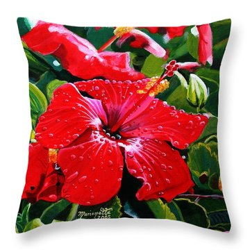 Red Hibiscus Throw Pillow by Marionette Taboniar