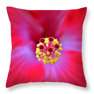 Throw Pillow featuring the photograph Red Hibiscus-no1 by Darla Wood