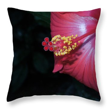 Throw Pillow featuring the photograph Red Hibiscus by Ron Davidson