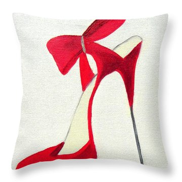 Red High Heel Shoe Throw Pillow