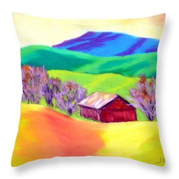 Throw Pillow featuring the painting Red Hill Barn by Nancy Jolley