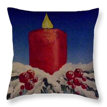 Red Holiday Candle Throw Pillow by Darren Robinson