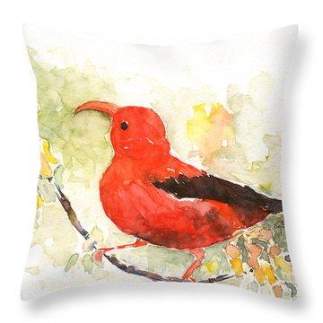 I'iwi - Hawaiian Red Honeycreeper Throw Pillow