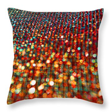 Red Hot Bokeh Bling Throw Pillow by Debbie Portwood