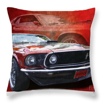 Boss Mustang Throw Pillow by Kenneth De Tore