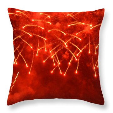 Red Hot Fireworks Throw Pillow