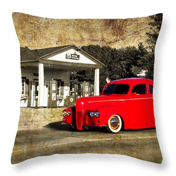 Red Hot Rod Cruising Route 66 Throw Pillow by Thomas Woolworth
