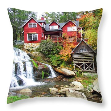 Red House By The Waterfall Throw Pillow