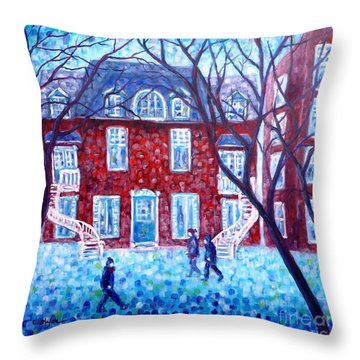 Red House In Montreal - Cityscape Throw Pillow