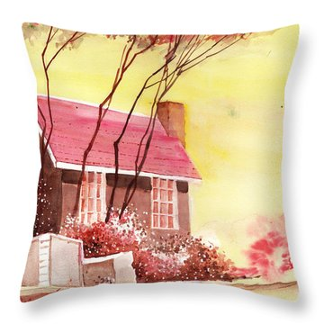 Red House R Throw Pillow by Anil Nene