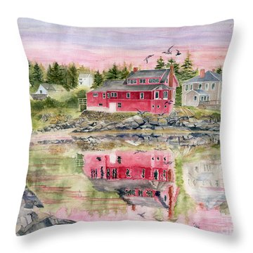 Red House Reflection Throw Pillow by Melly Terpening