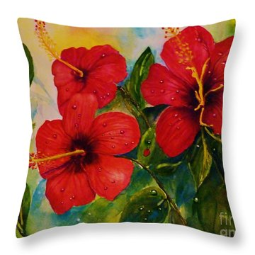Red Hybiscus  Throw Pillow