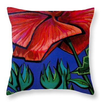 Red Ibiscus - Botanical Throw Pillow
