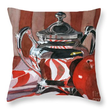 Red In Silver Throw Pillow by Lynne Reichhart