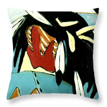 Red Indian Throw Pillow by Lance Headlee