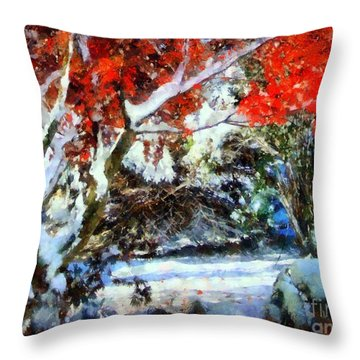 Red Japanese Maple In Snow Throw Pillow