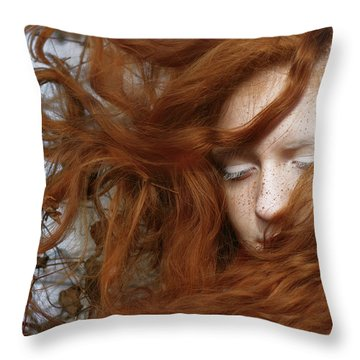 Red Haired Girl Throw Pillows