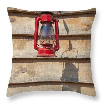 Throw Pillow featuring the photograph Red Kerosene Lantern by Bryan Mullennix