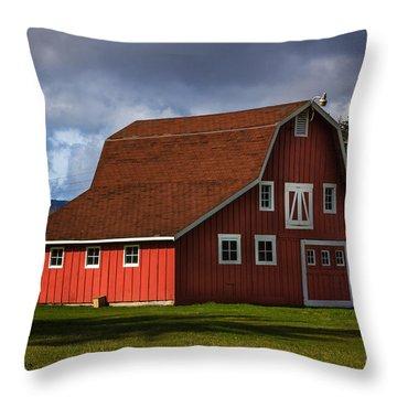 Throw Pillow featuring the photograph Red Kirsop Barn by Jean OKeeffe Macro Abundance Art