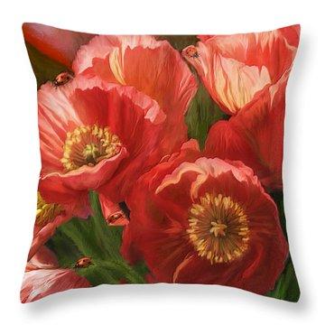 Red Ladies Of Summer Throw Pillow by Carol Cavalaris