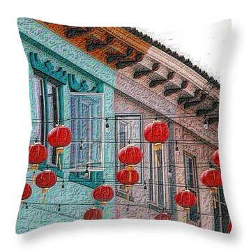 Red Lanterns Throw Pillow