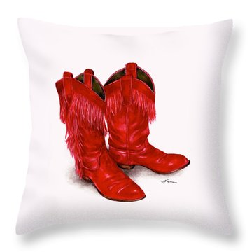 Red Leather Fringed Cowboy Boots Throw Pillow by Nan Wright