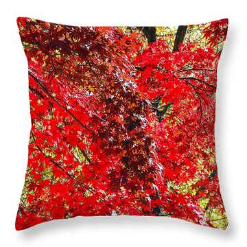 Red Leaves 3 Throw Pillow