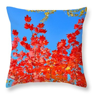 Throw Pillow featuring the photograph Red Leaves by David Lawson