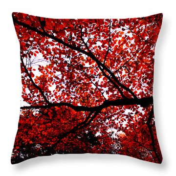 Red Leaves Throw Pillow by Izabela Bienko