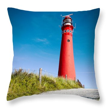Red Lighthouse And Deep Blue Sky. Throw Pillow