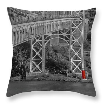 Red Lighthouse And Great Gray Bridge Bw Throw Pillow