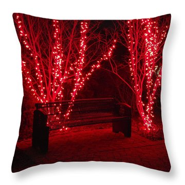 Red Lights And Bench Throw Pillow by Rodney Lee Williams