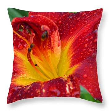 Red Lily After The Rain Throw Pillow