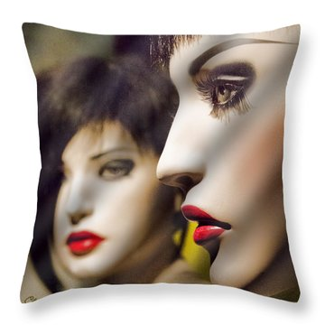 Red Lips - Black Heart Throw Pillow