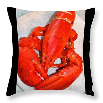 Red Lobster With Border Throw Pillow