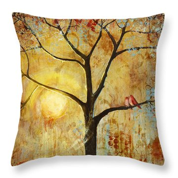 Red Love Birds In A Tree Throw Pillow