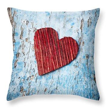 Red Love Heart  Throw Pillow