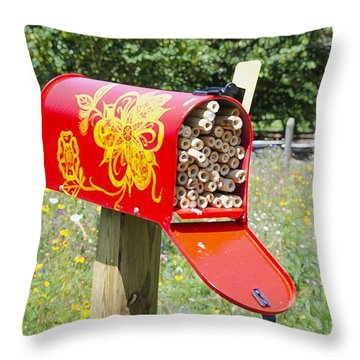 Red Mailbox Throw Pillow by Lanjee Chee