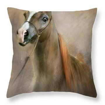 Red Mane Throw Pillow