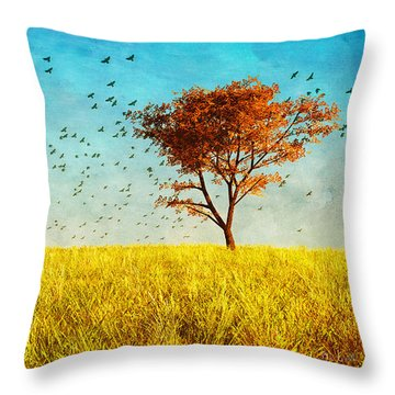 Red Maple Throw Pillow by Bob Orsillo