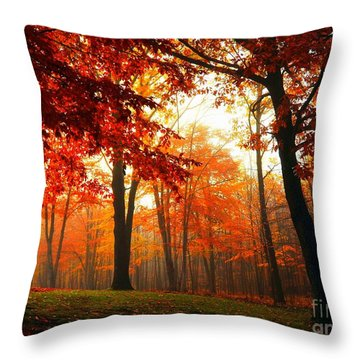 Red Maple Forest Throw Pillow by Terri Gostola