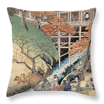 Red Maple Leaves At Tsuten Bridge Throw Pillow