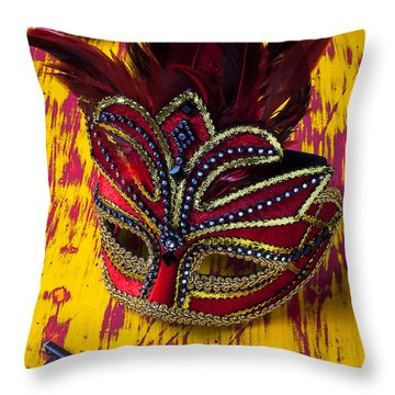 Red Mask And Key Throw Pillow