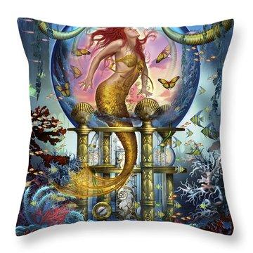 Red Mermaid Throw Pillow by Ciro Marchetti